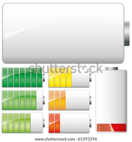 Set of White Batteries charge showing stages of power running low and full, vector - stock vector