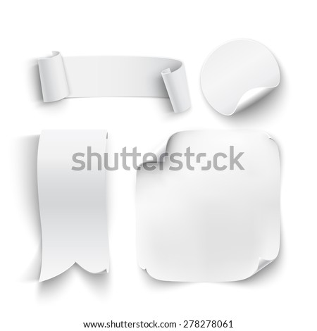 Set of white, blank stickers, ribbons, isolated on white background. Vector illustration - stock vector