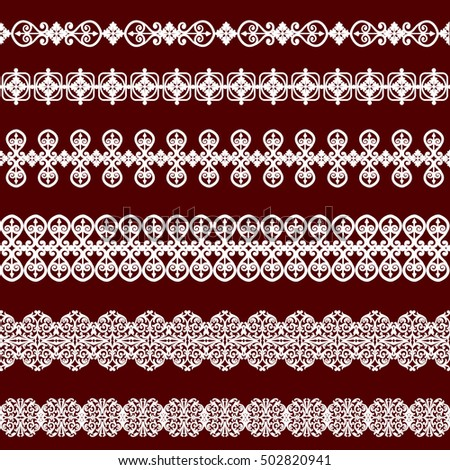 Set of white borders isolated on burgundy background