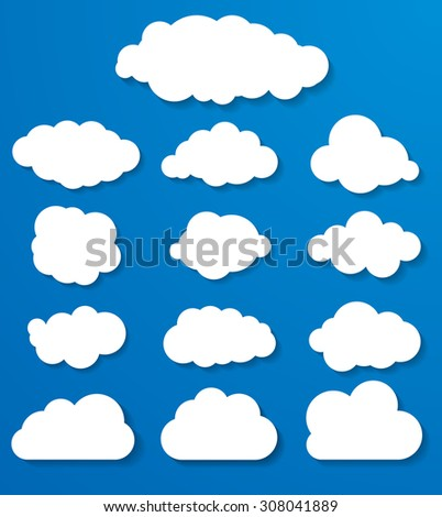 set of white clouds on a blue background - stock vector