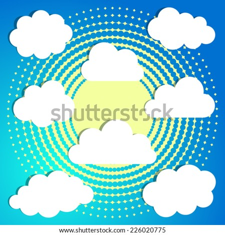 Set of white clouds on blue halftone background