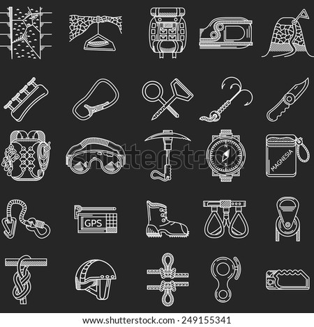 Set of white contour vector icons for equipment and outfit for rock climbing, alpinism, mountaineering on white background for your site. - stock vector