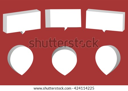 Set of white 3D chat boxes and pointers isolated on red background.