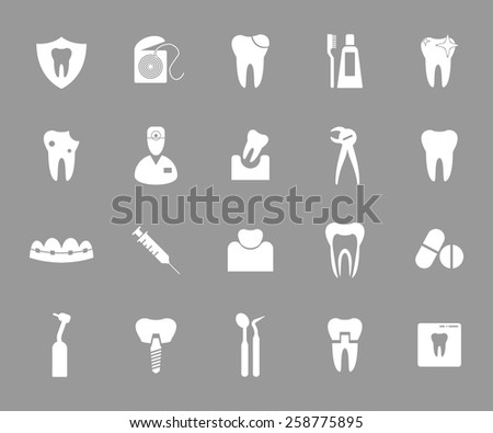 Set of white dental icons on grey background.  - stock vector