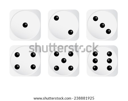 Set Of White Dices - stock vector
