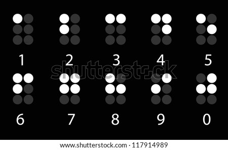 Set of white digital braille number on black - stock vector