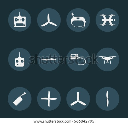 Set of  white drones icons