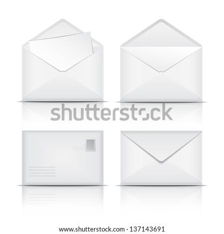 Set of White envelopes. Vector illustration on white background - stock vector