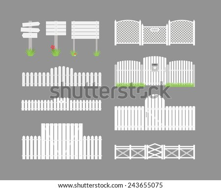 Set of white fence with grass and gates and wooden boards on a gray background. Vector illustration - stock vector