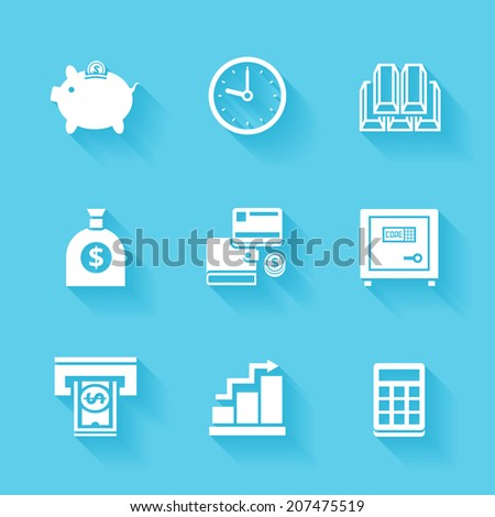 Set of white finance and money icons. Vector money stuff in flat modern style with shadows.  - stock vector