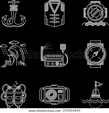 Set of white flat line vector icons for marine equipment and diving outfit on black background.  - stock vector