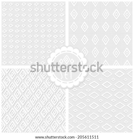 Set of white gray monochrome vector backgrounds with diamonds and round sticker