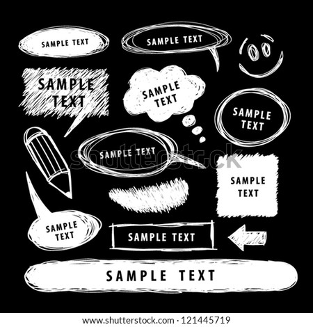 Set of white hand drawn design elements. - stock vector