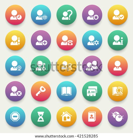 Set of white icons for e-commerce, marketing on color stickers.