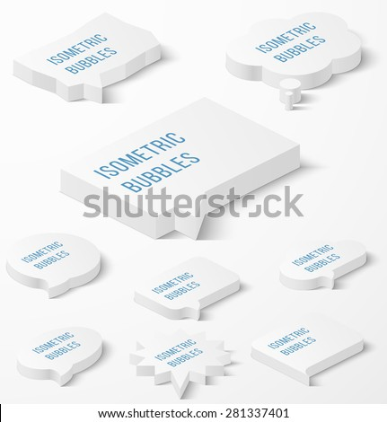 Set of white isometric bubbles with drop shadow. Vector illustration - stock vector