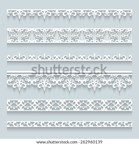 Set of white lace borders with shadows, ornamental paper lines, vector eps10 - stock vector