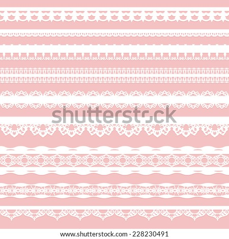 Set of white lace braid isolated on a pink background. Vector illustration - stock vector