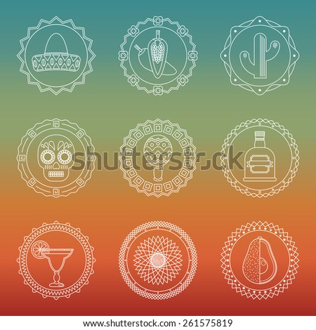 set of white line art mexican themed badges with icons - stock vector