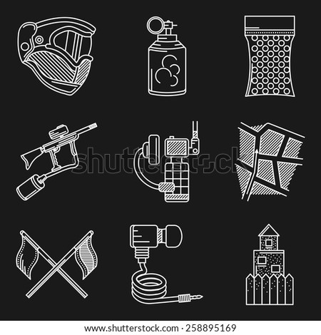 Set of white line vector icons for paintball. White flat line icons vector collection of paintball equipment and accessory on black background.  - stock vector