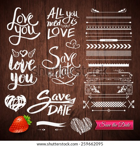 Set of White Love Phrases, Border Patterns and Symbols with Strawberry Fruit and Save the Date Pink Ribbon on a Brown Wooden Background. Vector illustration. - stock vector