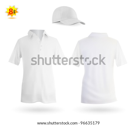 Set of white male polo and a baseball cap template. - stock vector
