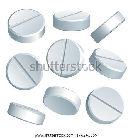 Set of white medical pills in different positions isolated on white background. Vector illustration - stock vector