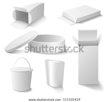 Set of white open boxes - stock vector
