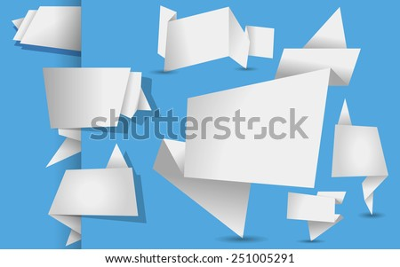 set of white origami tags, banners and labels on a  blue background - stock vector