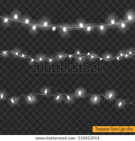Set Of White Overlapping Glowing Light Garlands On A Plaid Vector Transparent Background