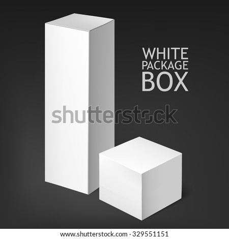 Set Of White Package Box. Mockup Template. he box is suitable for food, electronics, software, books, posting, household goods, osmetics. Mock Up Template Ready For Your Design.   - stock vector