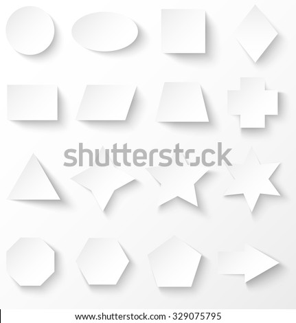 Set of white paper basic geometric shapes with shadow. Vector illustration - stock vector