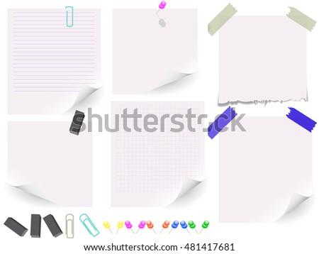 Set of white paper on white background. Vector illustration, Eps10.