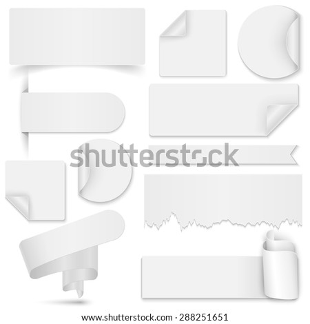 Set of white paper stickers and banners on white background. Round, square, rectangular, torn, twisted vector design template - stock vector