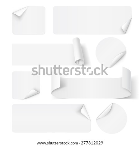 Set of white paper stickers isolated on white - stock vector