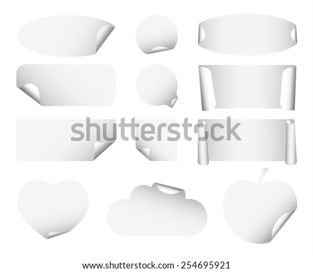 Set 1 of white paper stickers on white background. Round, square, rectangular, ellipse, heart, cloud, apple - stock vector