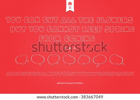 set of white paper stickers, stylish alphabet letters, numbers and speech bubbles isolated on red background. vector, 3d style font type design. thin line typeface icons and text box clouds - stock vector