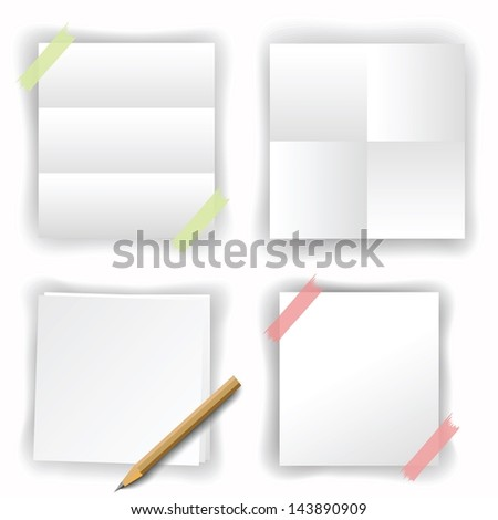 set of white papers - stock vector