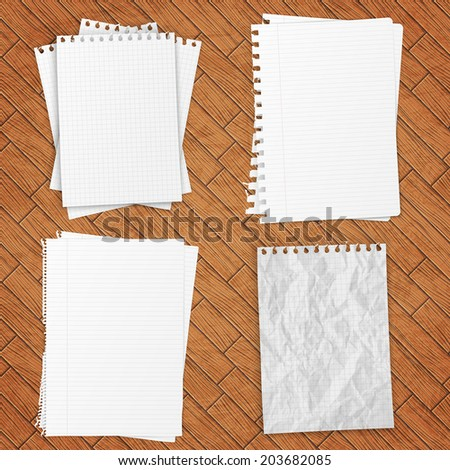 Set of white papers over wooden background, vector EPS10 - stock vector
