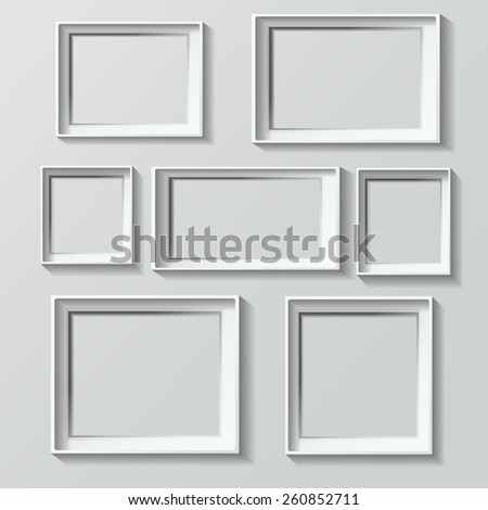 Set of white photo frames vector illustration image isolated on grey - stock vector