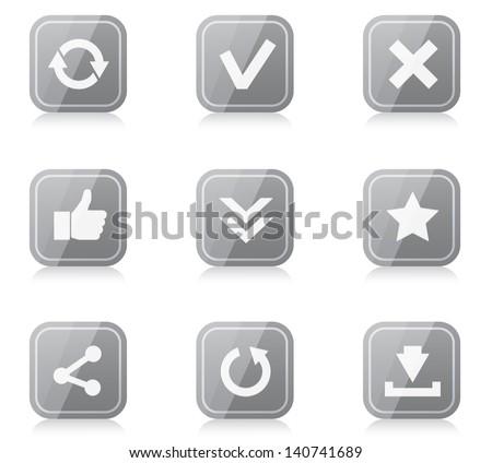 Set of white plastic round internet icons - stock vector