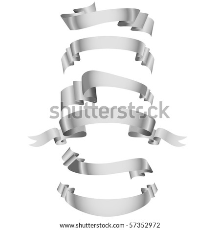Set of white ribbons.Vector illustration. - stock vector