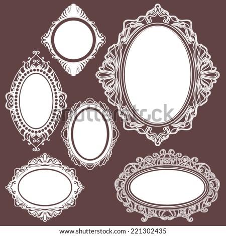 set of white round vintage frames, design elements - stock vector