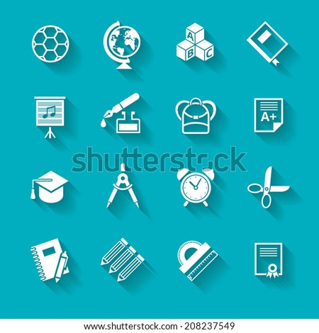 Set of white school and education icons. Vector school symbols in flat simple style.  - stock vector