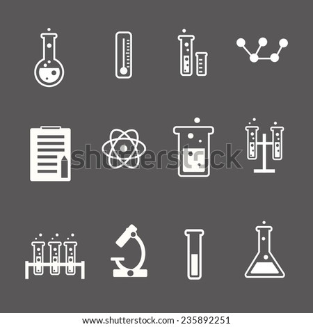 Set of white science and research icons on a grey background depicting laboratory glassware test tubes glass  atom  thermometer and retort stand  vector - stock vector