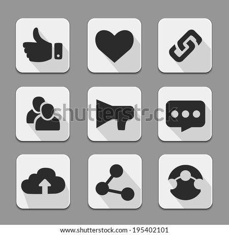 Set of white social network icons buttons with cloud  like hand chain links people chat global network heart. Vector illustration