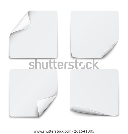 Set of white square paper stickers on white background. Vector illustration - stock vector