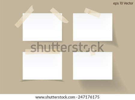 Set of white stick note isolated on brown background, vector - stock vector