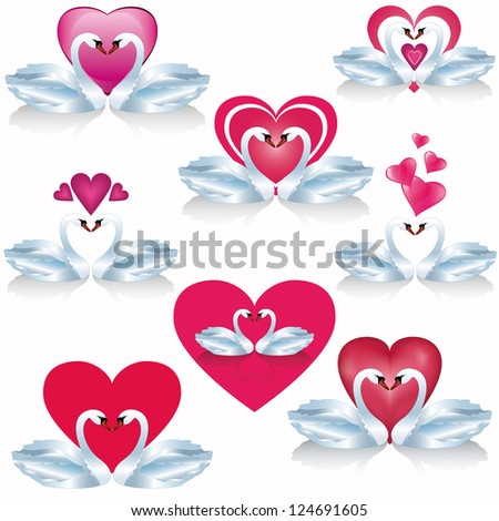 Set of white swans with hearts - symbol of love, isolated on white background. Vector illustration - stock vector