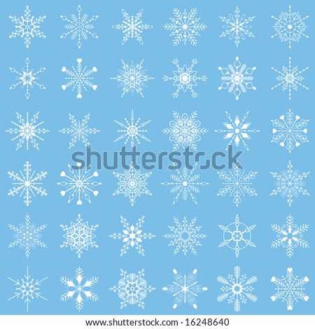 Set of white vector snowflakes on plain blue background.
