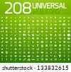 Set of 208 white vector universal icons isolated on green - stock vector